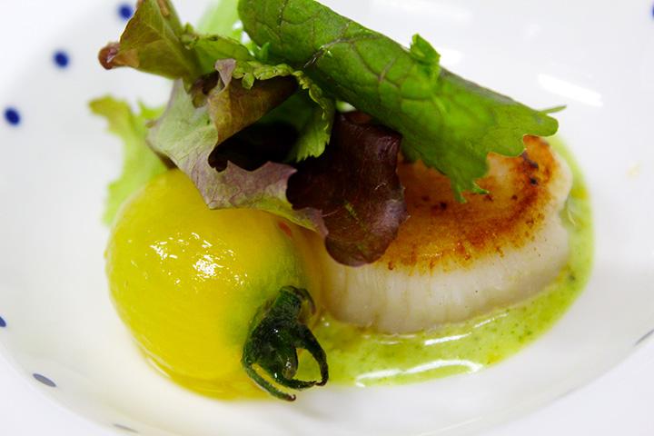 旬の魚を使った、コース料理の一例
