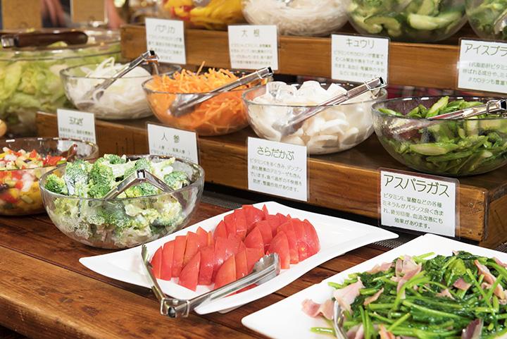 野菜メニューは8種類の生野菜のほか、サラダや炒め物なども