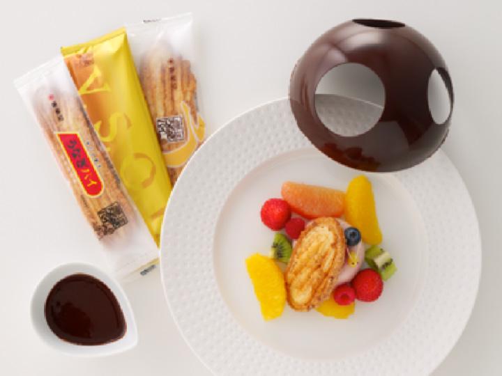 ホットチョコレートをスクープして食べる「4種のうなぎパイ&メルティングショコラセット」1,834円