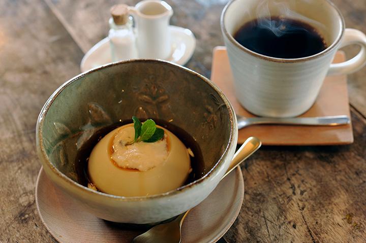 「ユバプリン」とコーヒーのセット900円