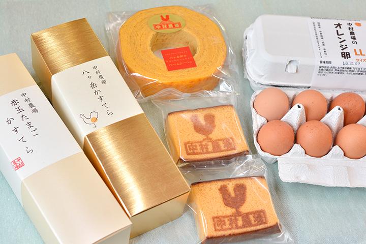 産みたて卵や卵を使ったカステラ、バームクーヘンも人気。