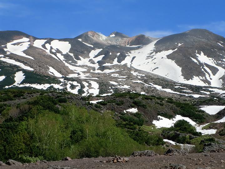 岩の隙間から湧き出る地下水望岳台から見た残雪が残る十勝岳