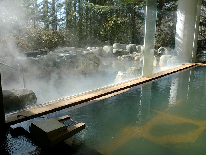 八ヶ岳の南に湧く高原のいで湯。泉質はナトリウムを多く含む炭酸水素塩泉