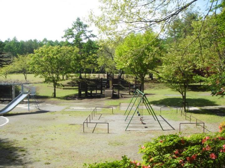 河口湖ICから車で約5分。芝生広場や遊具がある辺りは、通称「ちびっこ広場」