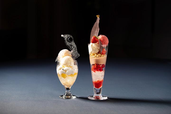 「白桃とヨーグルト」と「苺とチョコレート」各1,400円