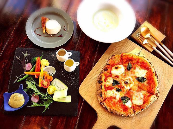 石窯焼きのピザまたはパスタが選べる「てくり 大地の恵コース」1,800円~