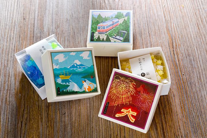 金平糖(こんぺいとう)や飴、お茶などを箱の中に入れられる「箱ね箱」 1個620円