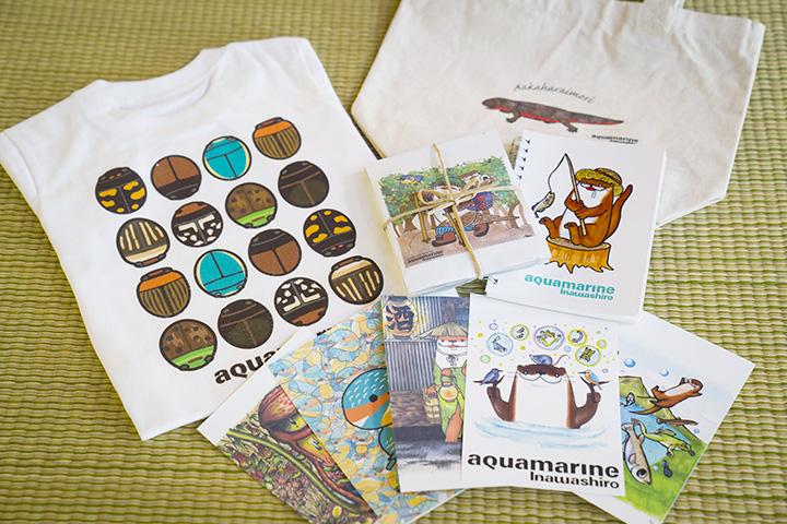 ゲンゴロウが描かれたTシャツ(子ども用1,730円)などのオリジナルグッズ