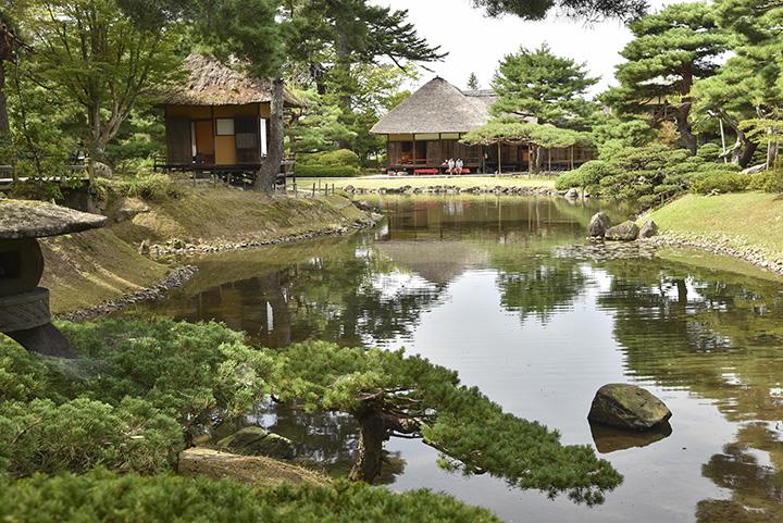 「心」という文字をかたどったと言われる「心字の池」。右の建物が「楽寿亭」、左が「御茶屋御殿」