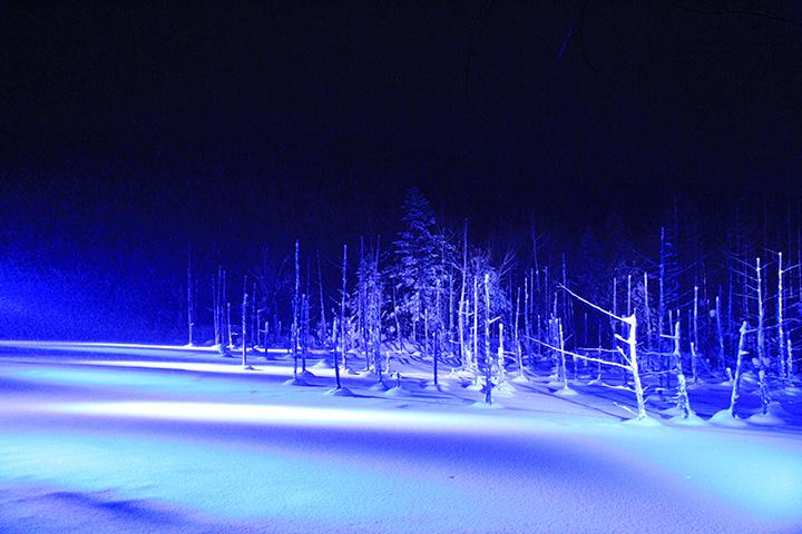 闇に浮かび上がる白と青の世界。凛とした空気が美しさを際立たせる(写真提供:美瑛町観光協会)