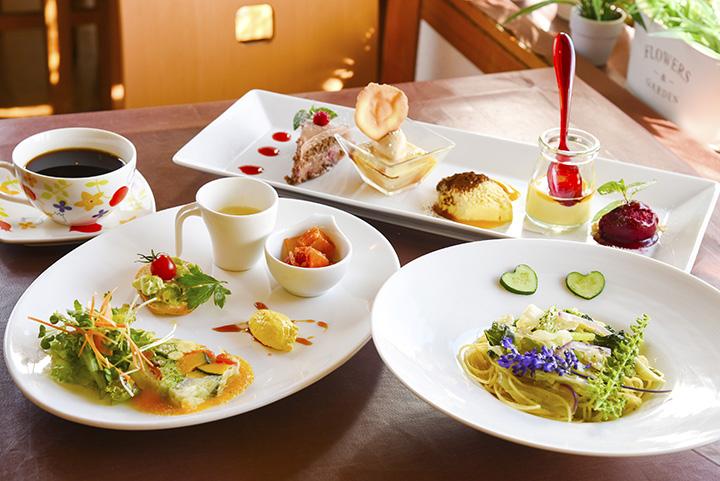 彩り豊かな料理と5~6種類のスイーツが楽しめる「スイーツランチ」2,090円