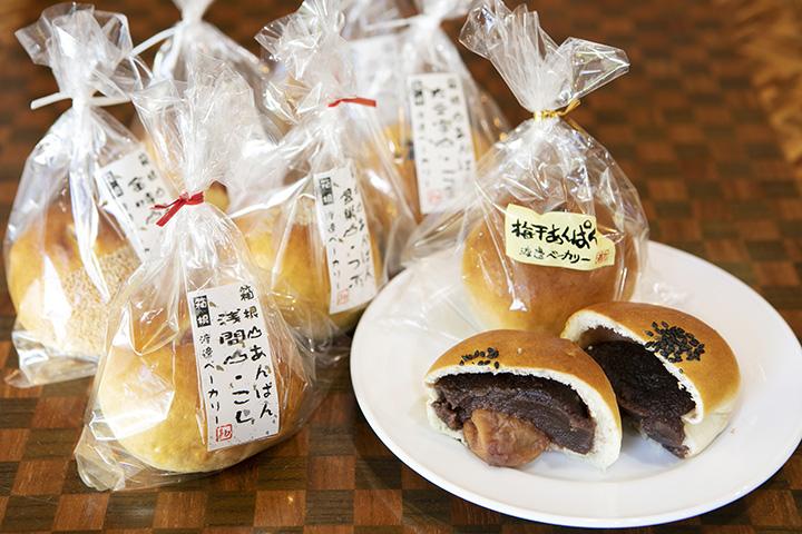 「梅干あんぱん」250円(税別)の他、10種類前後のあんパンが揃う