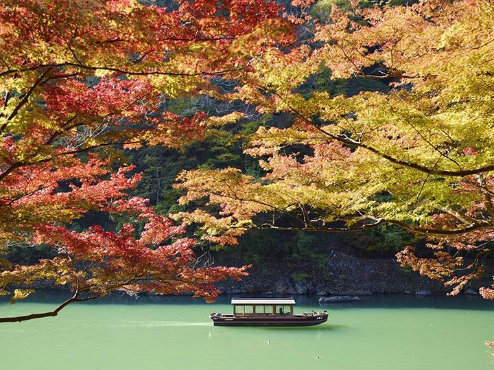 錦秋の奥嵐山で舟遊び