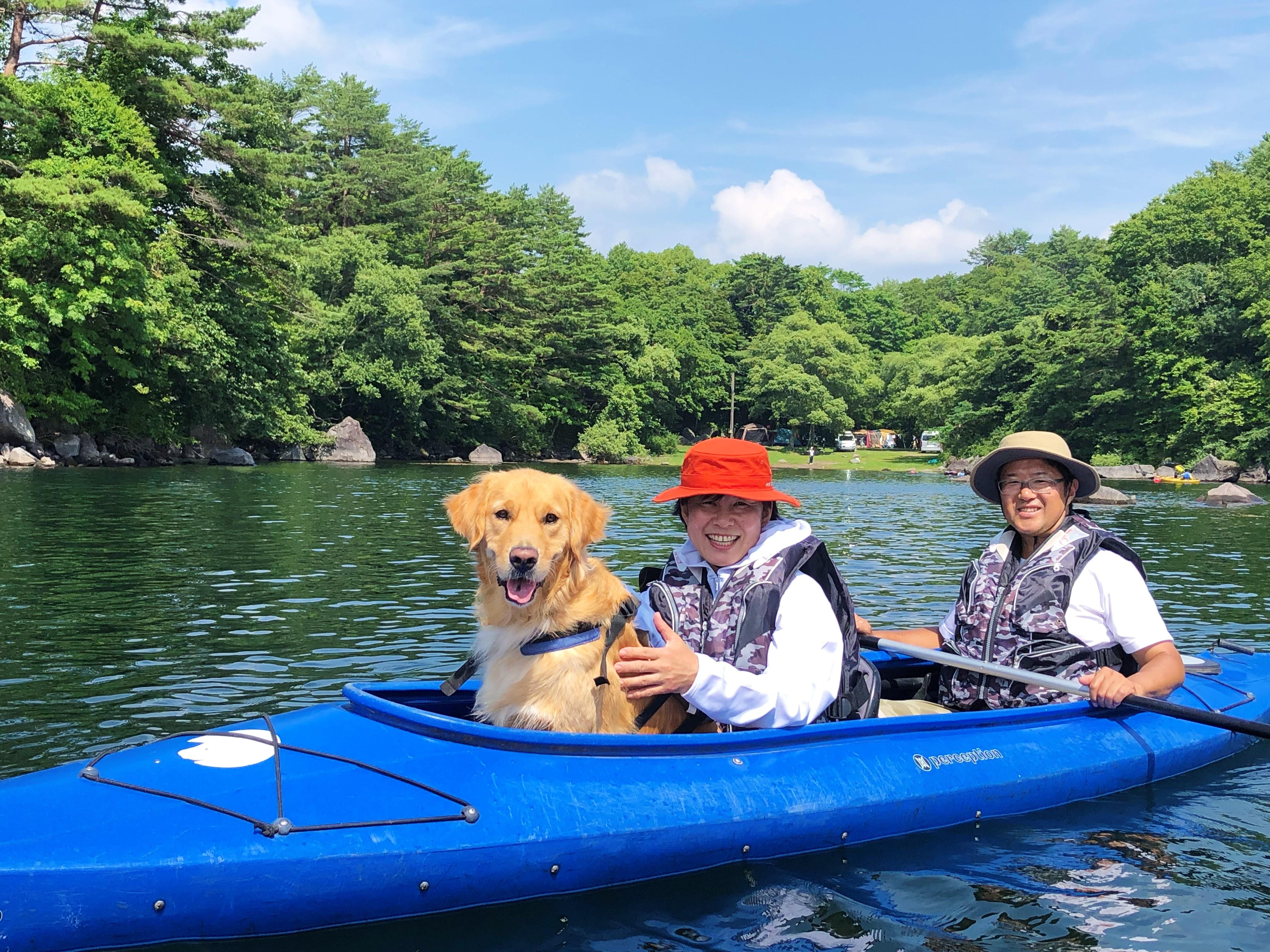 カヌーは2人乗りで、小型犬から大型犬まで同乗可能