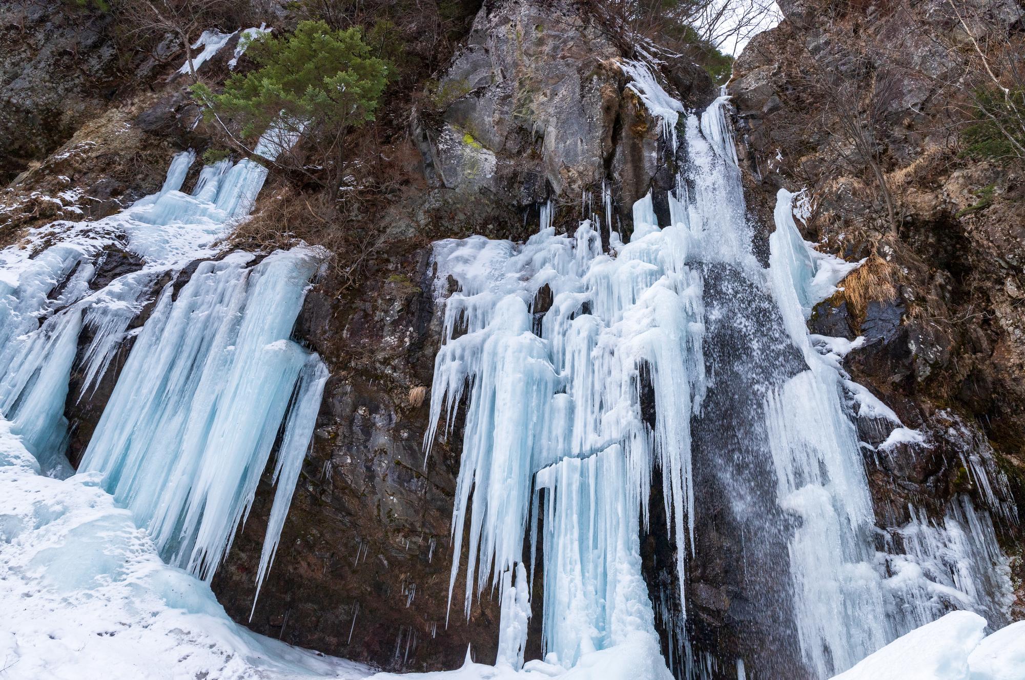 スノーシューで戦場ヶ原をハイキングした先には「庵滝」の氷瀑が輝いている
