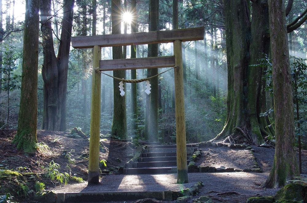 霧島神宮本殿裏手にある杉木立の中に立つ「山神社」はパワースポット
