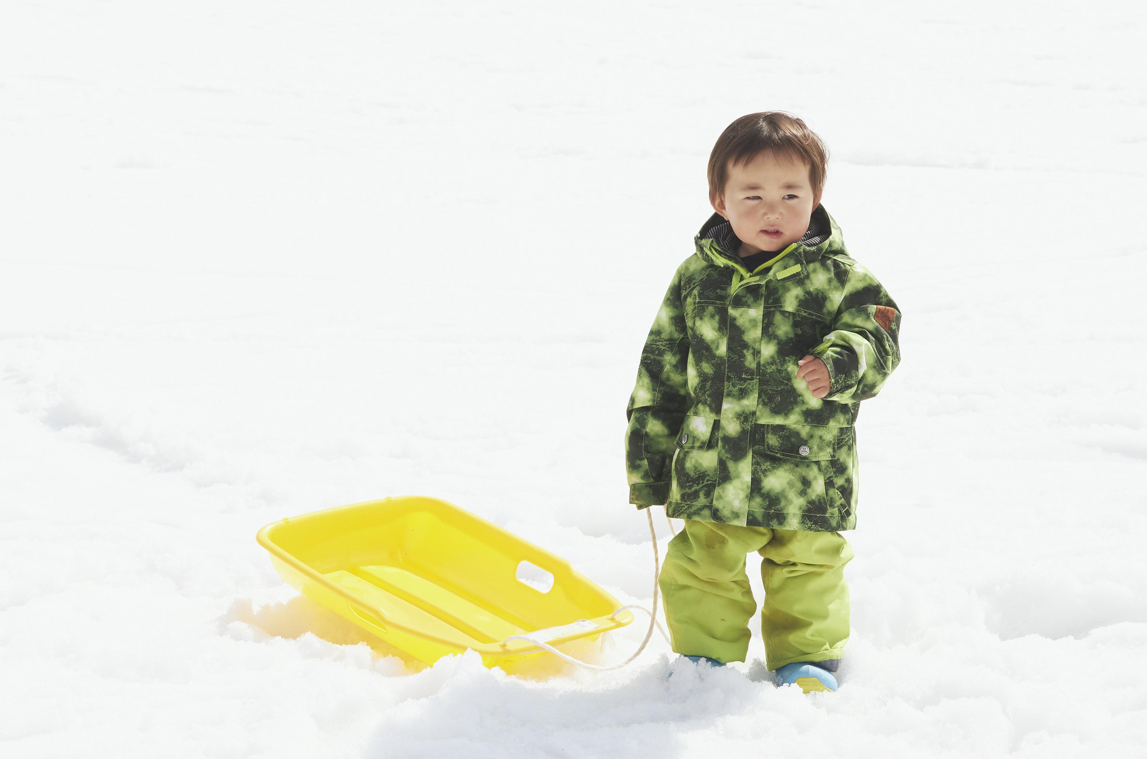 はじめは雪にびっくりしていても、すぐに慣れて夢中に