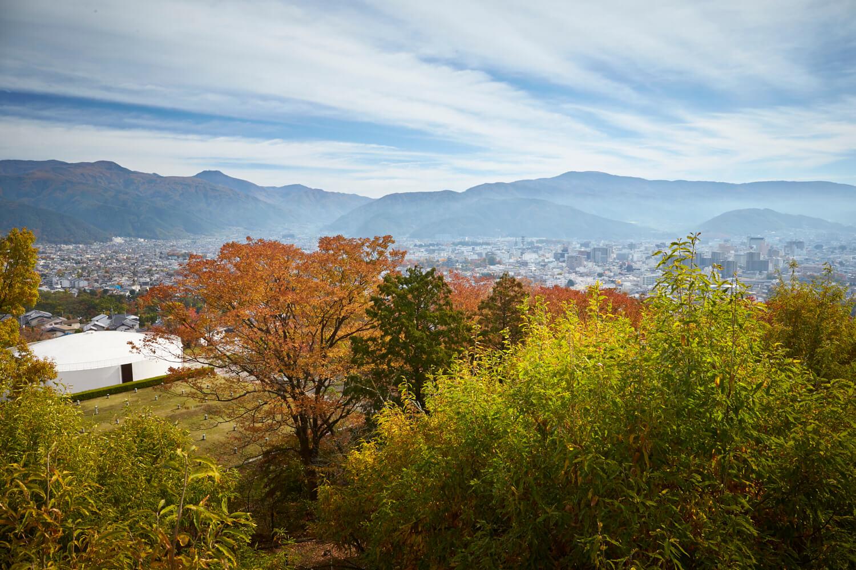北アルプスから美ヶ原まで望む展望は抜群で、色づく木々と松本平が眼下に広がり、園内の桜並木の紅葉も見事
