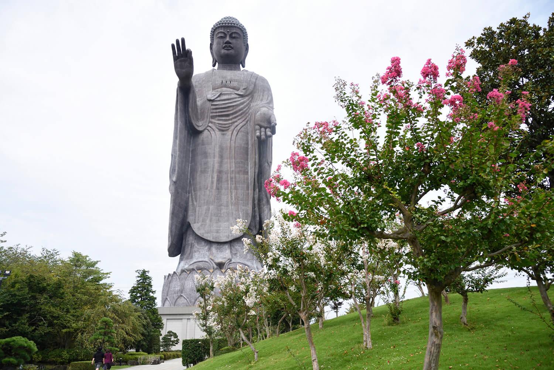 牛久大仏の全高は120mで、自由の女神像の約3倍の大きさ
