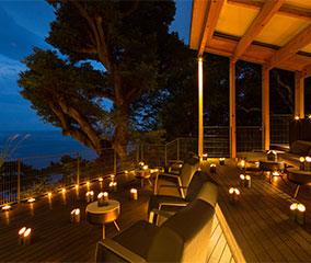 青海テラスで竹灯りのライトアップ