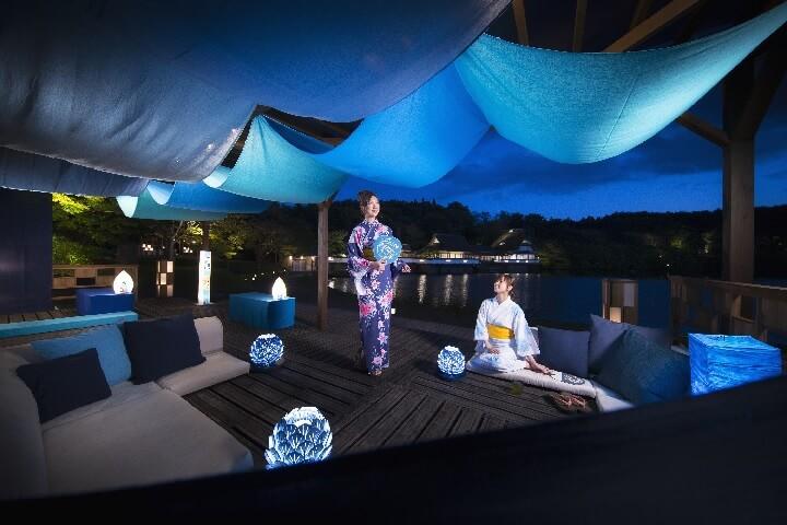 青森県の伝統文化・あおもり藍を取り入れた公園の寛ぎ処「あおもり藍テラス」