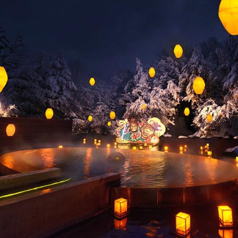 絶景雪見露天「ねぶり流し灯篭」