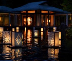 夏の夜を涼やかに彩る 津軽こぎん燈籠