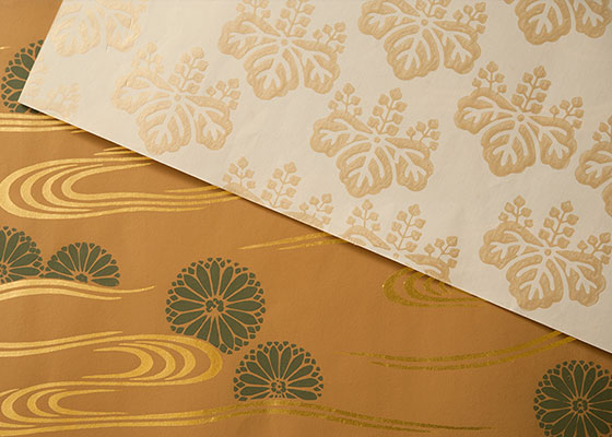 Pictures of two sheets of Kyoto karakami paper.